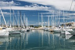 Port and harbor in Saint-Tropez. Grimaud. One of the most popular destinations on the French Riviera royalty free stock photos