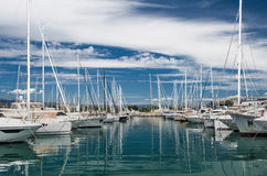 Port and harbor in Saint-Tropez. One of the most popular destinations on the French Riviera. Every year the port hosts many luxury yachts stock photo