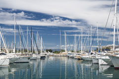 Port and harbor in Saint-Tropez. One of the most popular destinations on the French Riviera. Every year the port hosts many luxury yachts stock image