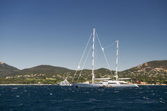Port and harbor in Saint-Tropez. One of the most popular destinations on the French Riviera. Every year the port hosts many luxury yachts royalty free stock image