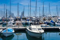 Port and harbor in Saint-Tropez. One of the most popular destinations on the French Riviera. Every year the port hosts many luxury yachts stock photos
