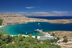 Port harbour of the city of Lindos Royalty Free Stock Photography