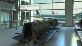 Port Harcourt-Flug, der jetzt im Flughafenabfertigungsgebäude verschalt Nigeria-zur Begriffsintroanimation reisen, 3D stock footage