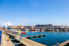 Port of Hel, Poland. Scenic view of yachts moored at marina in Hel, Poland Stock Image