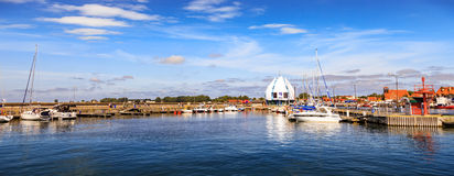 Port of Hel, Poland. Scenic view of yachts moored at marina in Hel, Poland Stock Photos