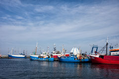 Port in Hel Town in Poland. Poland, Pomerania, Hel Town, port with fishing boats, trawlers at Baltic Sea Royalty Free Stock Images