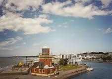 Port of Helsingborg Sweden. Lighthouse at the port in Helsingborg, Sweden Royalty Free Stock Photography