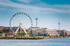Port In Helsinki City, Finland. Cityscape View Royalty Free Stock Photos