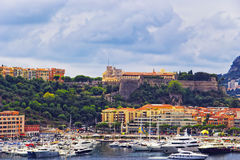 Port Hercule, luxury ships and palace on the mountain Royalty Free Stock Photo