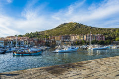 Port Hercule ship (toscany). Where are parked boats Porto Ercole Royalty Free Stock Images