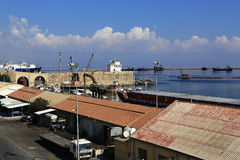 The port, historical monuments and buildings in the town of Famagusta, Northern Cyprus Royalty Free Stock Images