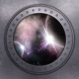 Port Hole looking out onto space Royalty Free Stock Photos