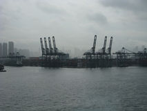 Port of Hong King in the mist and clouds Royalty Free Stock Photography