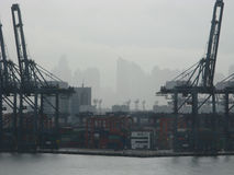 Port of Hong Kong in the mist and clouds 3 Stock Photography