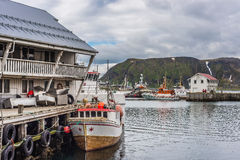 Port of Honningsvag in Finmark, Norway. Royalty Free Stock Images