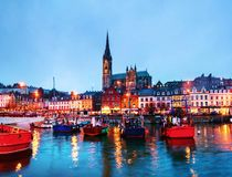 Port, houses, restaurants, shops, bars, pubs and Cathedral at ni stock image