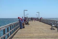 Port Hueneme Pier Fishing fotografering för bildbyråer