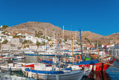 The port of Hydra, Greece. Morning view of the port of the island of Hydra, Greece royalty free stock photography