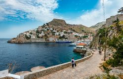 The port of Hydra, in Greece royalty free stock image