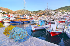 Port at Hydra island Greece Stock Photo