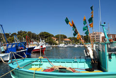 Port of Hyeres. With a boat in the foreground Stock Photos