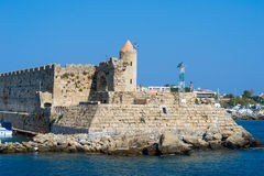 Port i den gamla staden av Rhodes Arkivbild