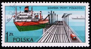 Port i hamnen Gdansk, Polnocny, polska portar för serie, circa 1976 Royaltyfri Foto