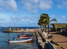 Port i Hanga Roa på påskön, Chile royaltyfria foton