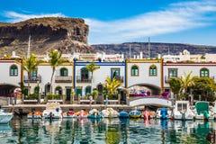 Port i Puerto de Mogan, Gran Canaria, Spanien Arkivbilder
