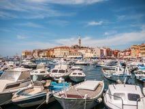 Port i Rovinj, Kroatien Arkivfoton