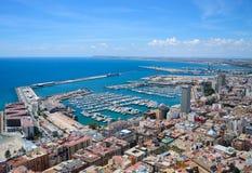 Port i stad av Alicante, Spanien Arkivfoto