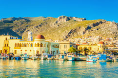 Port i townhall w Pothia na Kalymnos, Grecja Obrazy Stock