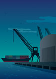 Port. Illustration of port at night Royalty Free Stock Images