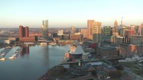 Port intérieur de Baltimore, le Maryland banque de vidéos