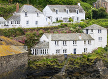 Port Isaac cottages. White washed period cottages of Port Isaac, Cornwall, southwest England Royalty Free Stock Photo