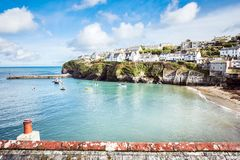 Old fishing village, landscape. Port Isaac, the little village on the sea in Cornwall royalty free stock images
