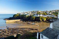 Port Isaac, a small and picturesque fishing village on the Atlantic coast of north Cornwall, England, United Kingdom, famous as ba. Ckdrop to various television stock images