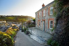 Port Isaac, a small and picturesque fishing village on the Atlantic coast of north Cornwall, England, United Kingdom, famous as ba. Ckdrop to various television royalty free stock photo