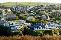 Port Isaac, a small and picturesque fishing village on the Atlantic coast of north Cornwall, England, United Kingdom, famous as ba. Ckdrop to various television stock photos