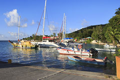 Port on the island of La Digue Royalty Free Stock Photography