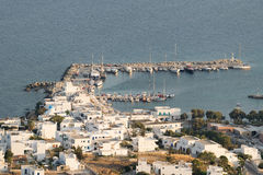 Port in island Paros in Greece. View from the top of a high mountain. Royalty Free Stock Image