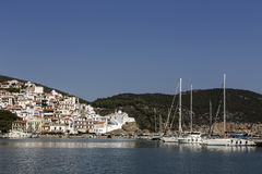 In the port of the island of Skopelos Northern Sporades, Greece. Panoramic view of the port of Skopelos Northern Sporades, Greece Royalty Free Stock Photo