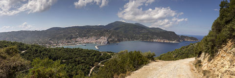 In the port of the island of Skopelos Northern Sporades, Greece. Panoramic view of the port of Skopelos Northern Sporades, Greece Royalty Free Stock Photos