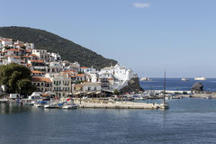 In the port of the island of Skopelos Northern Sporades, Greece. Panoramic view of the port of Skopelos Northern Sporades, Greece Stock Photo