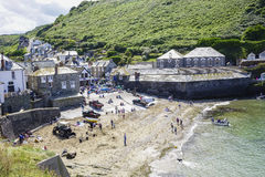 Port Issac beach on a hot sunny summers afternoon Royalty Free Stock Images