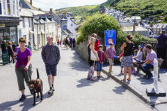 Port Issac hot sunny summers afternoon walking in the sun Stock Photo