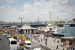 The port of Istanbul with tourists. In Turkey Stock Photography