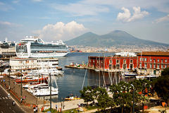 Port in the Italian city of Naples. Volcano Vesuvius in the background Royalty Free Stock Photography