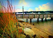 Port Jefferson Pier. This colorful photo was taken in Port Jefferson, Long Island royalty free stock photography
