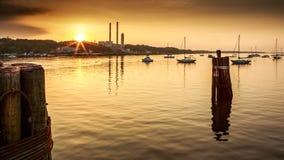 Port Jefferson Sunset. Sunset over the Port Jefferson marina, Long Island, New York, USA royalty free stock photography